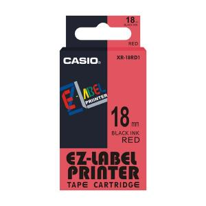 Casio XR-18RD1 Label Printer Tape Cartridge, Length: 8 M