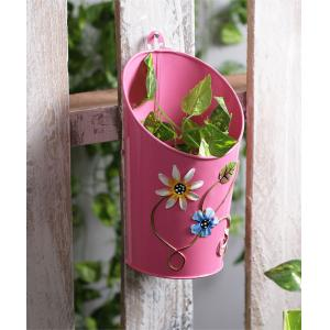 Green Girgit Half Moon Pink Floral Printed Metal Pot Planter, GG_HMP