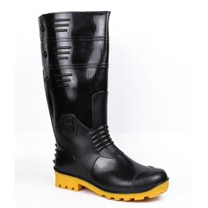 Hillson Torpedo 211 Round Toe Black And Yellow Gumboot, Size: 6