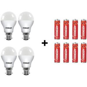 Eveready 9W Cool Day Light Bulbs With Free 8 AA Batteries (Pack Of 4)