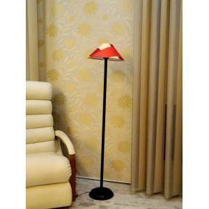 Tucasa Black Metal Floor Lamp With Red Check Pyramid Shade, LG-915