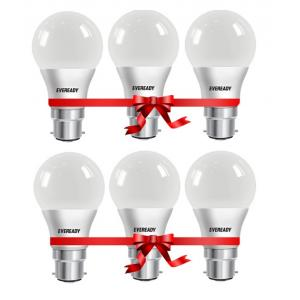 Eveready B-22 9W Led Bulb With Free Battery (Pack Of 6)