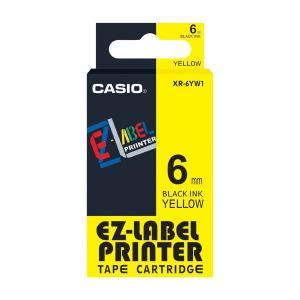 Casio XR-6YW1 Label Printer Tape Cartridge, Length: 8 M