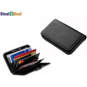 Stealodeal Full Black Leather with Multicolor Plastic Aluma Card Holder