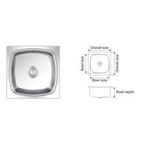 Nirali Square Deluxe Satin Finish Kitchen Sink, Size: 432x432 mm