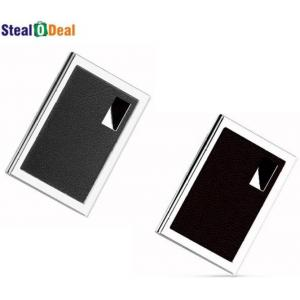 Stealodeal Black & Brown Leather Stainless Steel Card Holder Set