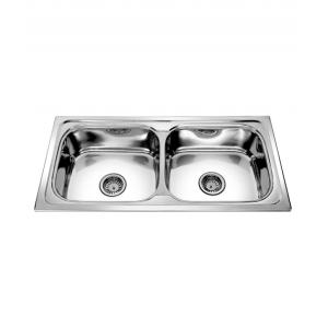 SS Silverware High Grade Stainless Steel Kitchen Sink with Double Bowl, Overall Size: 37x18x8 inch