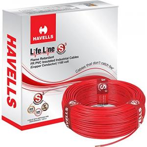 Havells 90m 1 Sq Mm Red Lifeline FR PVC Insulated Industrial Cable,...
