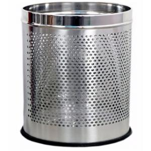 SBS 10 Litre Stainless Steel Perforated Open Dustbin, Size: 8x12 inch