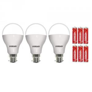 Eveready 7W LED Bulbs With Free 6 Pc Eveready Battery (Pack Of 3)