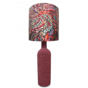 What Scrap Rope Round Maroon Psychedelic Table Lamp