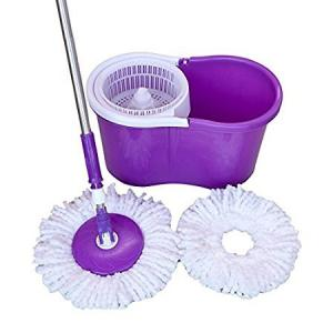 Kamachi 360 degrees Spin Floor Cleaning Easy Magic Plastic Bucket Mop with 2 Microfiber Heads