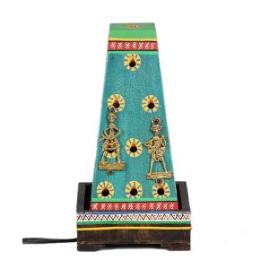 Vareesha Peacock Green Hand Painted Warli Wooden Lamp, VACL044