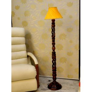 Tucasa Twisted Wooden Floor Lamp With Yellow Pleated Shade, LG-875