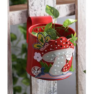 Green Girgit Mushroom Red Metal Pot Planter, GG_MPR