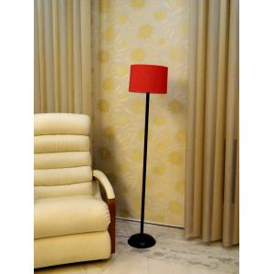 Tucasa Black Metal Floor Lamp With Red Cylinder Shade, LG-899