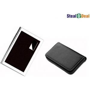 Stealodeal Full Black Leather with Brown Metal Card Holder