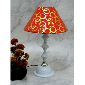 Tucasa Classic White Lamp With Red Circle & Gold Shade, LG-734