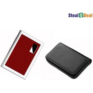 Stealodeal Full Black Leather with Red Metal Card Holder