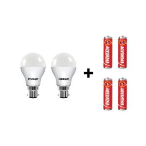 Eveready B-22 9W White LED Bulbs With Free 4 Pc Eveready Battery...