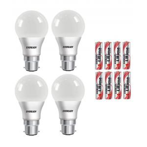 Eveready 7W B-22 LED Bulbs With 8 Batteries (Pack Of 4)