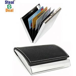 Stealodeal Black Side Elegant Visiting With Plain Metal Card Holder