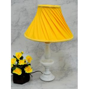 Tucasa Elegant White Marble Table Lamp With Yellow Shade, LG-795