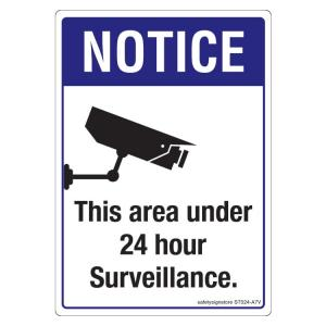 Safety Sign Store Notice: This Area Under 24 Hour Surveillance Sign...