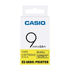 Casio XR-9FYW Label Printer Fluorescent Tape Cartridge, Length: 5.5 M