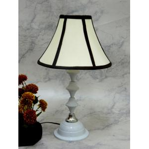 Tucasa Classic White Lamp With Off White Stripe Shade, LG-718