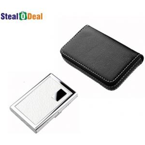 Stealodeal Full Black Leather with White Metal Card Holder